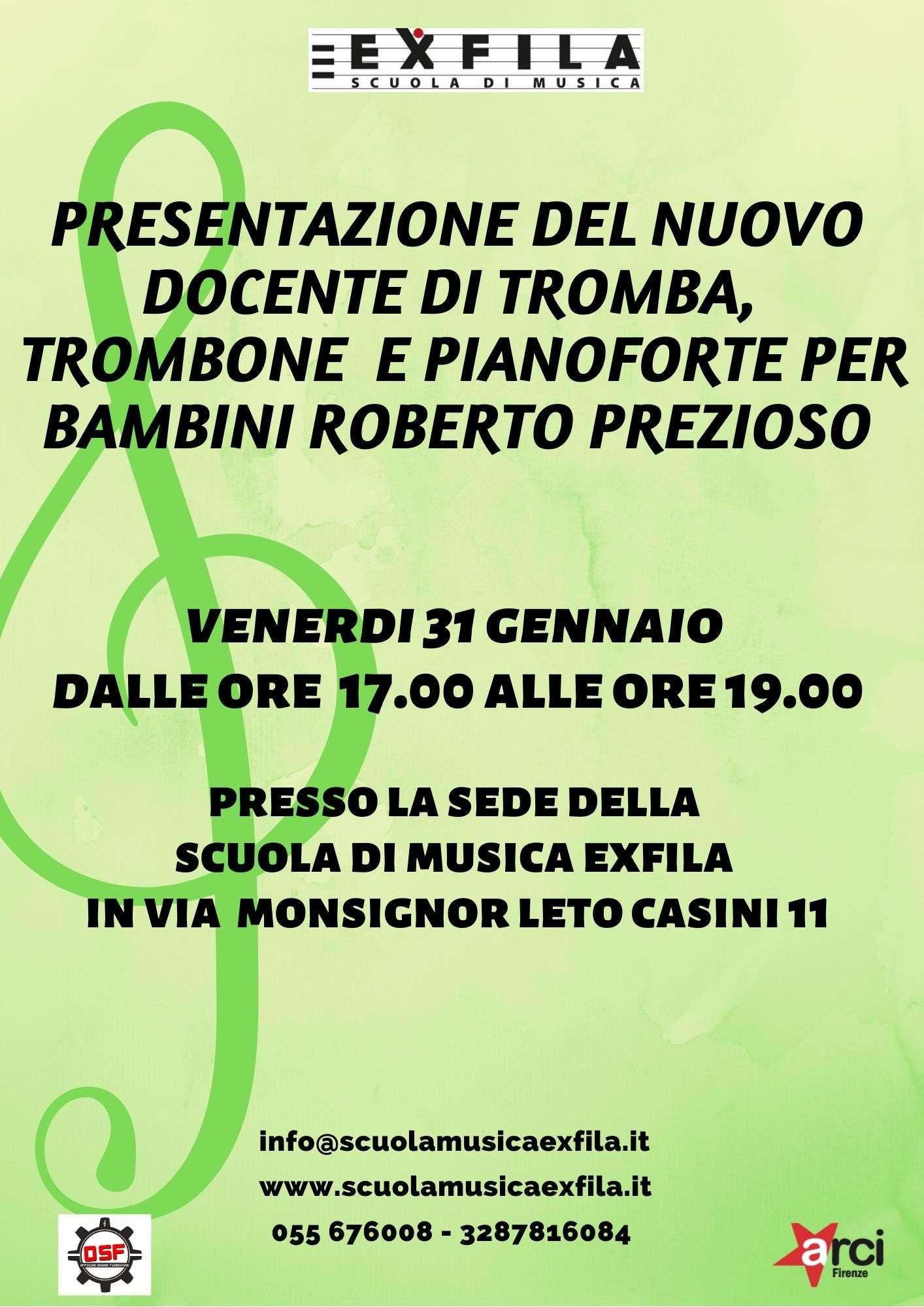Presentazione del nuovo docente Roberto Prezioso